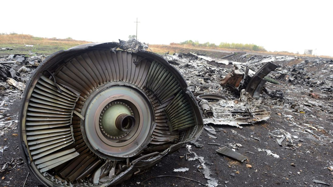 Part of the Malaysia Airlines Flight MH17 at the crash site in the village of Hrabove (Grabovo), some 80km east of Donetsk