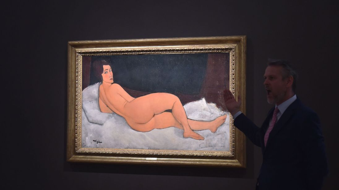 'Nu Couche (sur le cote gauche)' by Amedeo Modigliani is seen during a Sotheby's preview of the May Evening Sale of Impressionist and Modern Art, in New York on May 4, 2018
