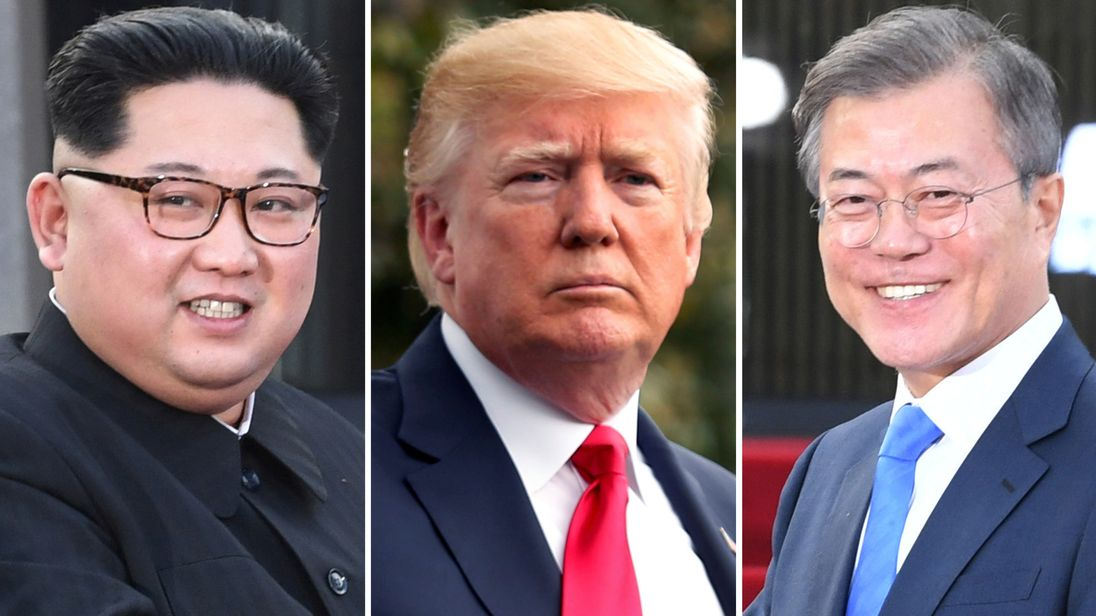 Moon Jae-in, Donald Trump and Kim Jong Un