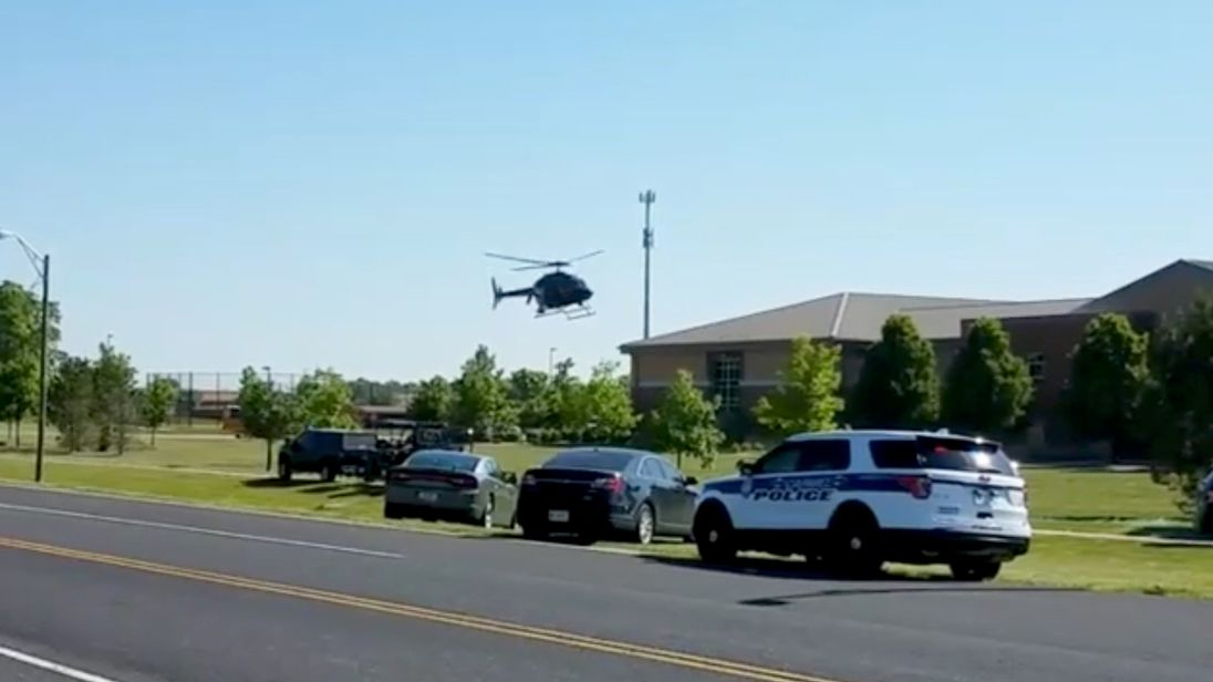 A police helicopter at the scene