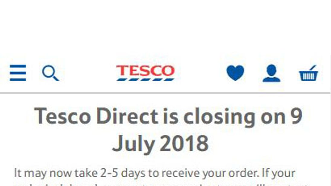 This message is shown when users log on to Tesco Direct