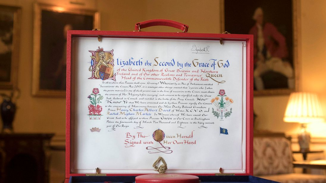 The Instrument of Consent, which is the Queen's formal consent to Prince Harry's forthcoming marriage to Meghan Markle