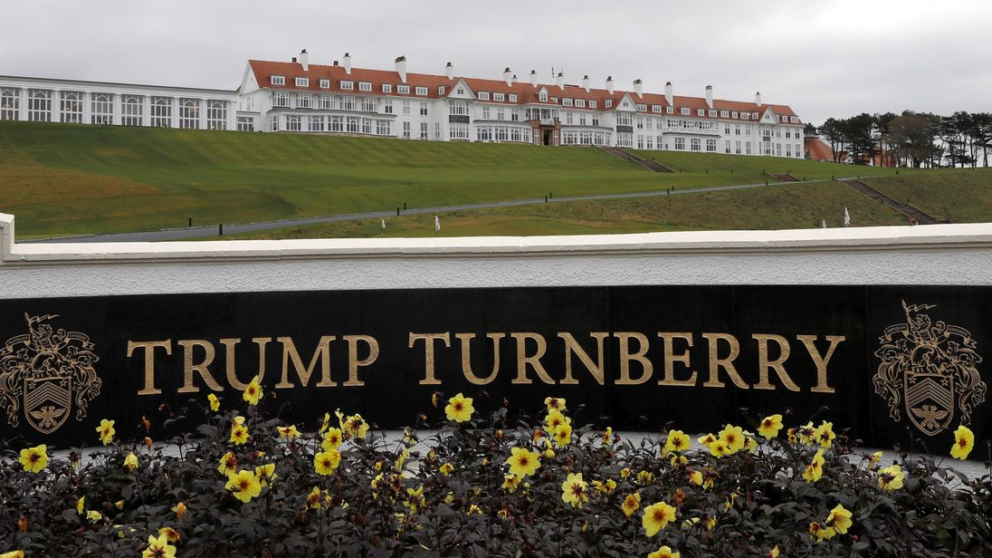 Trump hits the links at his Scottish golf resort