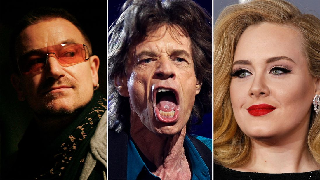 U2, Sir Mick and Adele all earned plenty of money in 2017