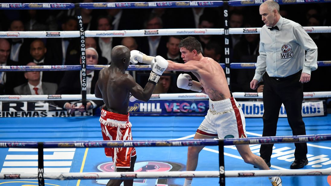 Luke Campbell MBE of Great Britain  (r) in boxing action against Yvan Mendy of France during the WBC International Lightweight title at The O2 Arena on December 12, 2015 in London, England.  (Photo by Leigh Dawney/Getty Images)