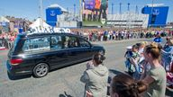 Mourners lined the streets outside Everton's Goodison Park in Liverpool to pay their respects to Alfie