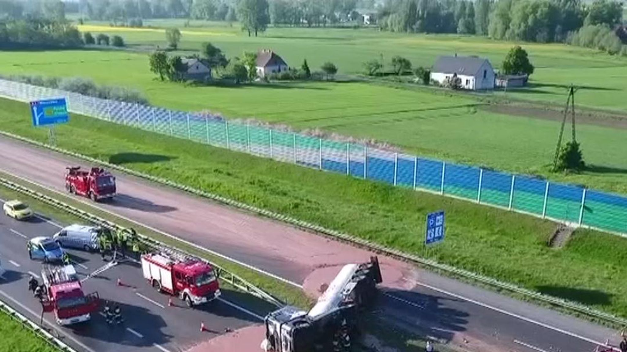 A truck has overturned on a Polish motorway, spilling tons of liquid  chocolate that are solidifying into a huge sticky mess  Officials said the  liquid chocolate was solidifying as it cooled and would