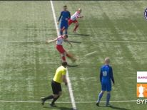 Louis MacLachlan scores directly from the kick-off