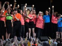 A choir of survivors of the attack produced a triumphant performance