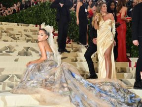 Ariana Grande arrives for the 2018 Met Gala on May 7, 2018,