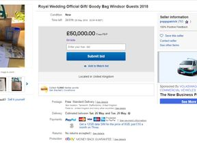 People are selling the goodie bags they got from the royal wedding. Pic: eBay