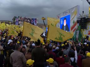 Hundreds of Hezbollah supporters gathered to watch the address