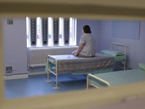 A prisoner sits in the newly refurbished healthcare unit of HMP Holloway