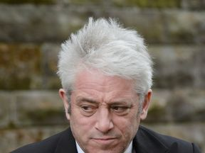 John Bercow leaves St Aloysius in Glasgow following the funeral of Michael Martin