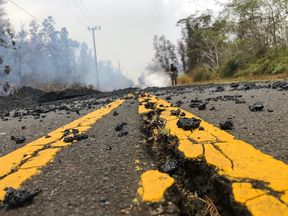 A damaged road in the 'lava zone'