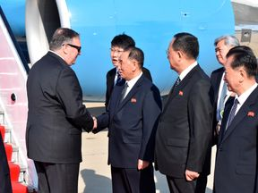 Senior North Korean Official Kim Yong Chol greets US Secretary of State Mike Pompeo earlier this month.
