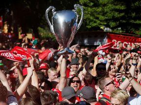 Liverpool fans in Kiev, Ukraine
