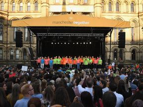 Choirs performed before the final singalong in St Ann's Square