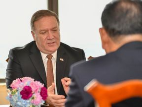 "Mike Pompeo said there had been ""substantive talks with the team from NorthKorea."""