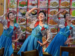 North Korean waitresses at a North Korean-owned restaurant in the Chinese border town of Dandong