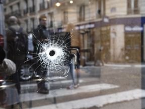A bullet hole at the site of the attack