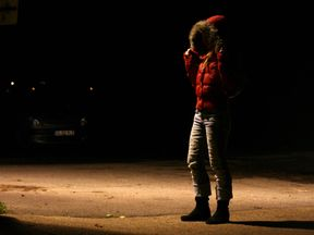 'Lindsey' a 20 year-old prostitute walks in Ipswich's red light district 13 December 2006