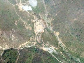 A satellite photo of the Punggye-Ri nuclear test site in North Korea