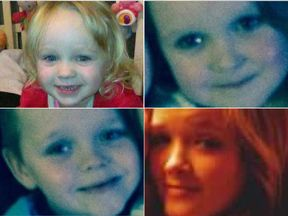 Demi, 15, Brandon, eight, and Lacie, seven, Lia, three. Pics. Facebook