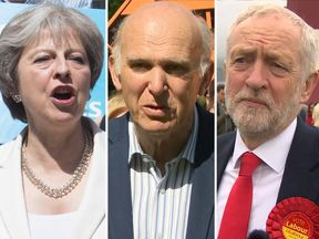 Theresa May, Vince Cable and Jeremy Corbyn
