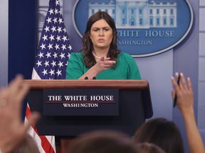 White House Press Secretary Sarah Huckabee Sanders speaks to reporters