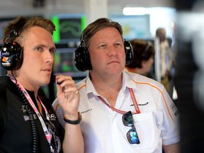 (L-R) Ryan Walkinshaw team owner of Walkinshaw Andretti United and McLaren Executive Director Zak Brown look on during the Supercars Australian Grand Prix round at Albert Park on March 22, 2018 in Melbourne, Australia