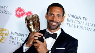 Rio Ferdinand with the single Documentary award in the press room at the Virgin TV British Academy Television Awards 2018 held at the Royal Festival Hall, Southbank Centre, London. PRESS ASSOCIATION Photo. Picture date: Sunday May 13, 2018. See PA story SHOWBIZ Bafta. Photo credit should read: Ian West/PA Wire