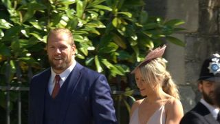 England rugby star James Haskell arrives with his girlfriend Chloe Madeley, daughter of TV presenters Richard and Judy