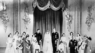 Queen Elizabeth II and Prince Philip on their wedding day.