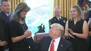 President Trump congratulates Southwest Airlines Captain Tammie Jo Schults for landing a plane in dangerous conditions