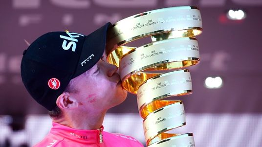 Chris Froome kisses his trophy after winning the Giro d'Italia in Rome