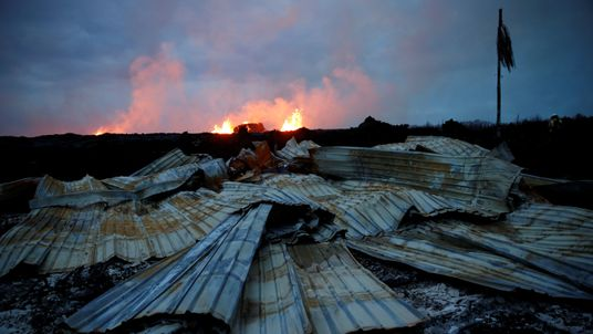 The lava destroyed many structures