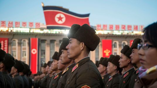 North Korean soldiers attend a mass rally in Pyongyang