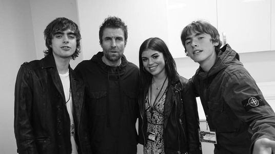 Liam and his sons Lennon, 18, and Gene, 16, welcome Molly Moorish to the family. Pic Liam Gallagher/Instagram