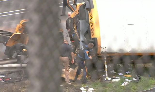 New Jersey school bus and truck in head-on collision