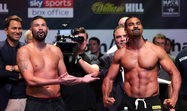 Tony Bellew shoves David Haye in throat at tense pre-fight head-to-head