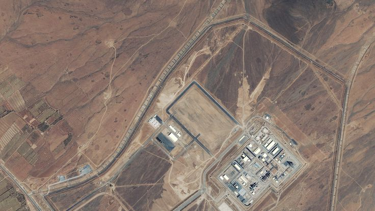 A satellite image from 2004 of a heavy-water and production plant near the town of Arak