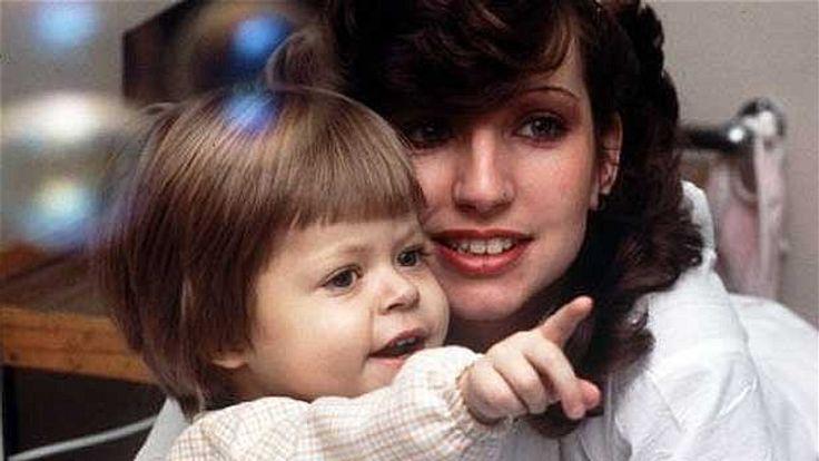 Benjamin Hardwick, two, with his mother Debbie in 1984