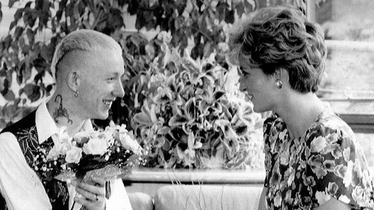 The Princess of Wales shaking hands with William Drake, a patient at London Lighthouse Aids Centre in 1992