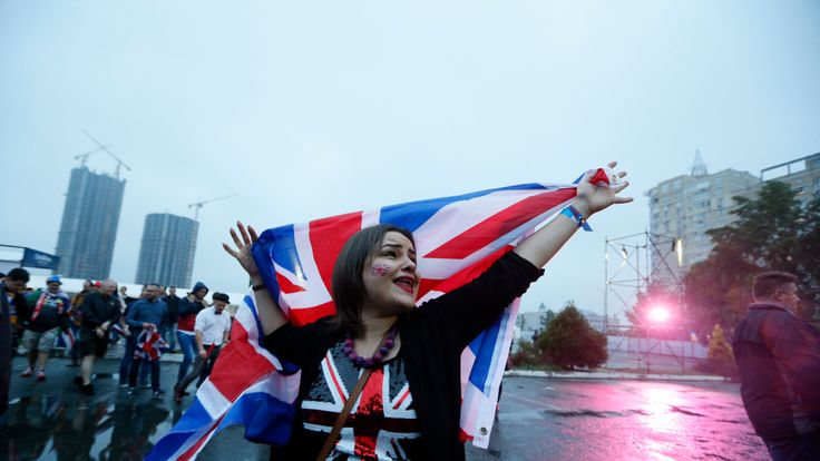 A fan waves the union flag ahead of last year's Eurovision final