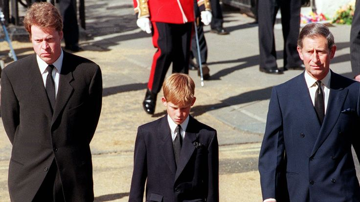Harry marched with his father and uncle behind Diana's coffin