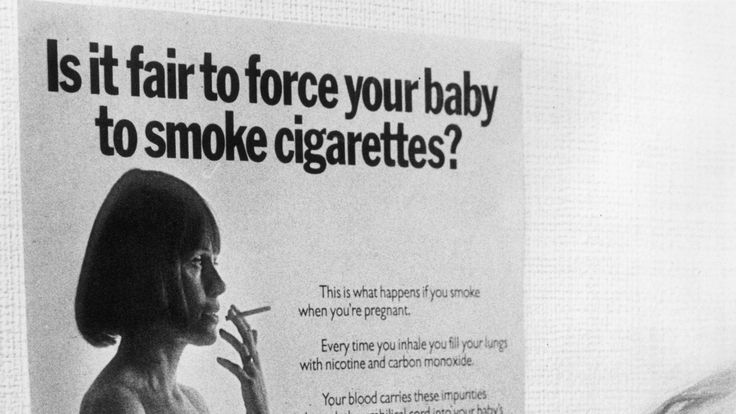 A 1974 Health Education Council poster warning against the dangers of smoking during pregnancy