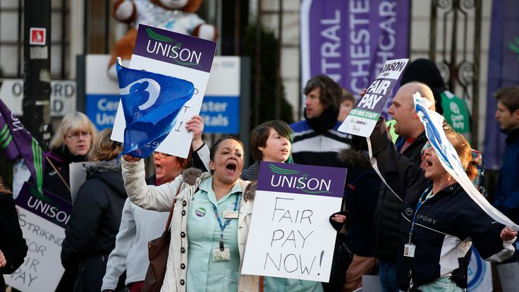 NHS workers went on strike over pay in November 2014