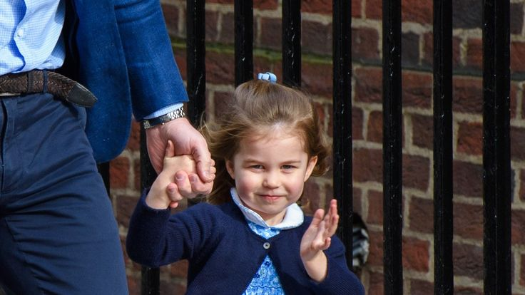 Charlotte pictured outside the Lindo Wing in April, a week before her third birthday