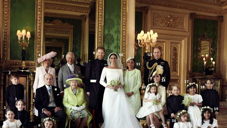 The couple with the Royal Family and the pageboys and bridesmaids